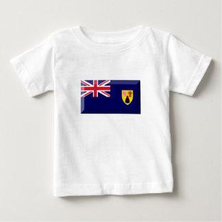 トルコ人及びCaicosの島の旗の宝石 ベビーTシャツ