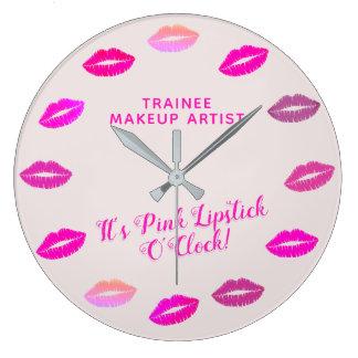 トレイニーのメーキャップアーティストのピンクの口紅の柱時計 ラージ壁時計