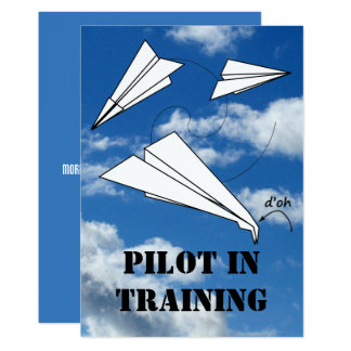 トレイニーの試験飛行の紙の飛行機の飛行機 カード