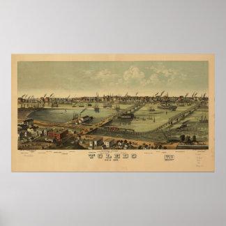 トレドオハイオ州1876の旧式なパノラマ式の地図 ポスター