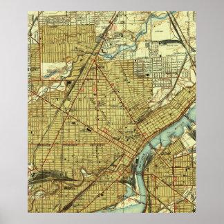 トレドオハイオ州(1938年)のヴィンテージの地図 ポスター