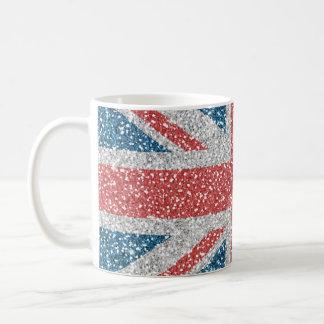 トレンディーのイギリスの英国国旗の涼しい旗の模造のなグリッター コーヒーマグカップ