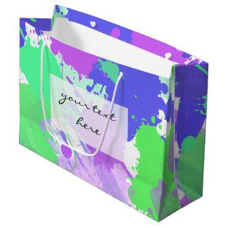 トレンディーの抽象的で多彩なネオンブラシストローク ラージペーパーバッグ