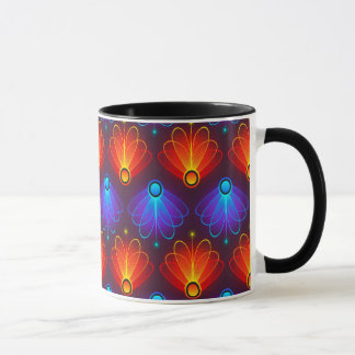 トレンディーの抽象的で青およびオレンジ翼 マグカップ