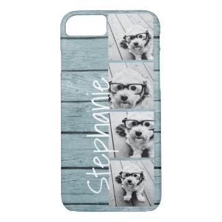 トレンディー4つの写真および名前-青い木製のプリント iPhone 8/7ケース