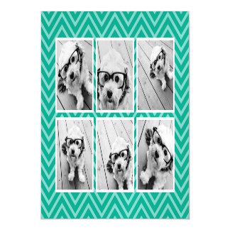 トレンディー6の写真のコラージュが付いているシェブロン真新しいパターン マグネットカード
