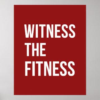 トレーニング引用文の証人フィットネスの赤い白 ポスター