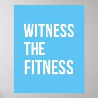 トレーニング引用文の証人フィットネスの青い白 ポスター