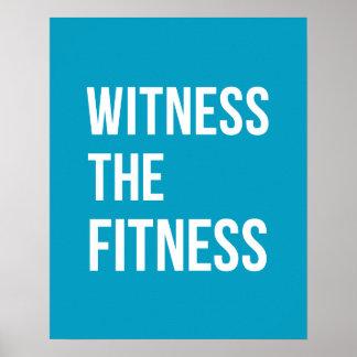 トレーニング引用文の証人フィットネスの青 ポスター
