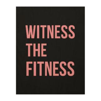 トレーニング引用文の証人フィットネスの黒のピンク ウッドウォールアート