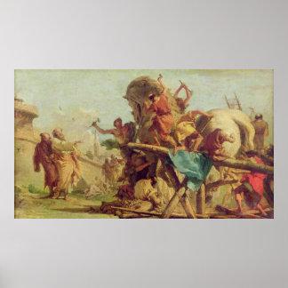 トロイの木馬、c.1760の建物 ポスター