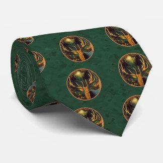トロフィのオオシカの頭部の深緑色 ネクタイ