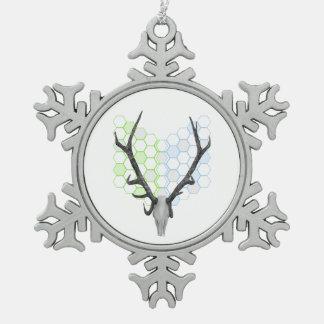 トロフィのシカの(雄ジカの)枝角の幾何学的なパターン スノーフレークピューターオーナメント