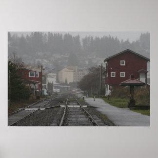 トロリーはAstoriaオレゴンの海岸を追跡します ポスター