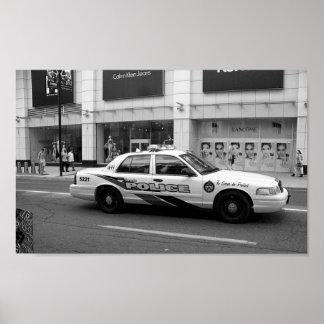 トロントのパトカーの白黒写真撮影 ポスター
