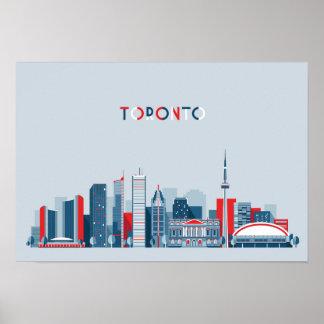 トロント、カナダ|の赤く、白くおよび青のスカイライン ポスター