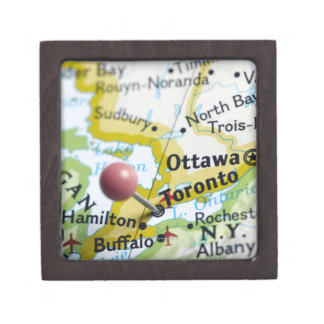 トロント、地図のカナダに置かれるピンの地図を描いて下さい ギフトボックス