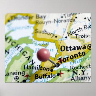 トロント、地図のカナダに置かれるピンの地図を描いて下さい ポスター