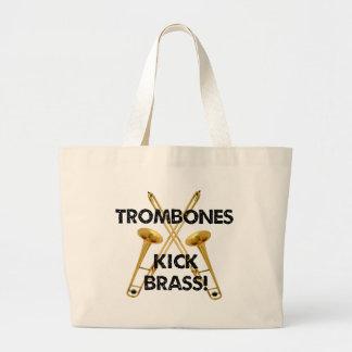 トロンボーンの蹴りの黄銅! ラージトートバッグ