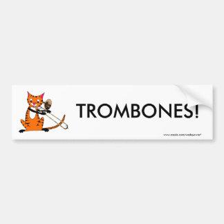 トロンボーンを遊んでいるトラ バンパーステッカー