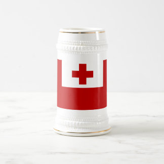 トンガの島の旗の赤十字 ビールジョッキ