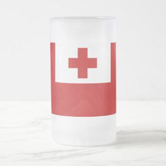 トンガの島の旗の赤十字 フロストグラスビールジョッキ