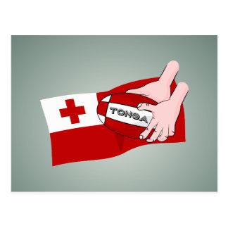 トンガ王国のTonganラグビーのボールの旗 ポストカード