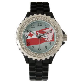 トンガ王国のTonganラグビーのボールの旗 腕時計