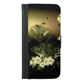 トンボが付いている素晴らしい花 iPhone 6/6S PLUS ウォレットケース