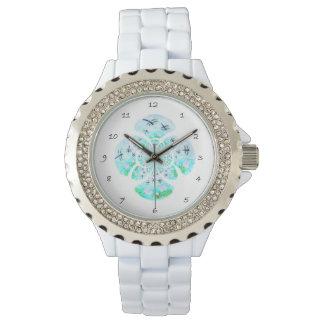 トンボのユリの花模様 腕時計