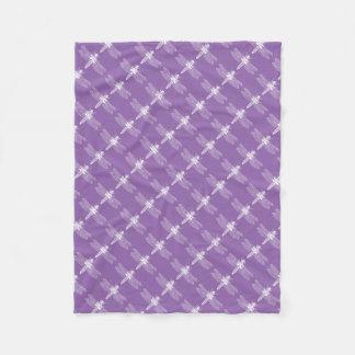 トンボのレトロの刺激を受けたな紫色の昆虫の虫パターン フリースブランケット
