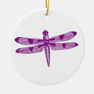トンボの写実的な(紫色の)倍のデザイン セラミックオーナメント