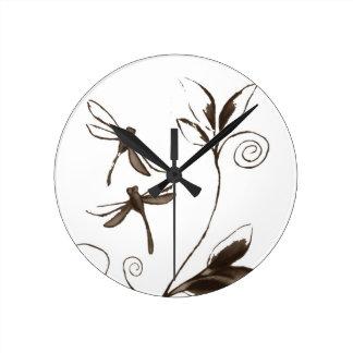 トンボの抽象芸術 ラウンド壁時計