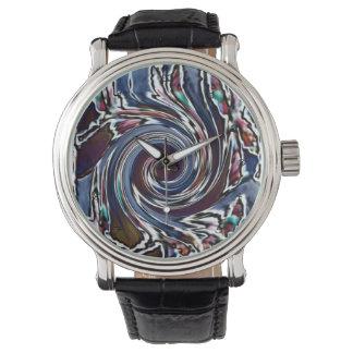 トンボの波の抽象芸術の自然 腕時計