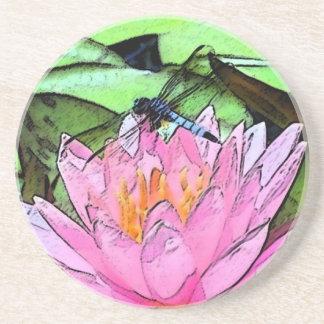 トンボの《植物》スイレンのsumi-e コースター