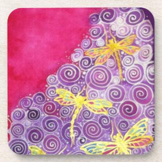 トンボのCyn Mc著絹の絵画のコースター コースター