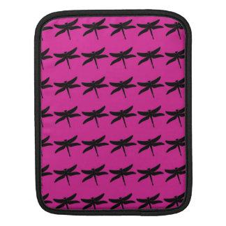 トンボパターンFushiaか黒いiPadの袖 iPadスリーブ