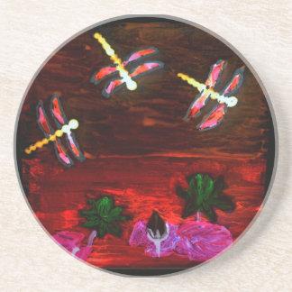 トンボユリの池の抽象美術 コースター
