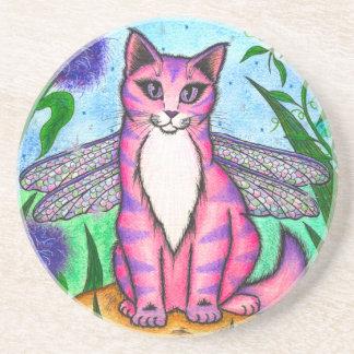 トンボ妖精猫のファンタジーの芸術のコースター コースター