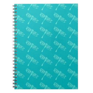 トンボ、ターコイズの淡い色のな水 ノートブック