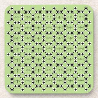 トンボ-緑の堅いプラスチックコースター- 6のセット コースター