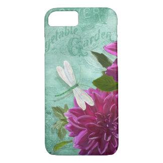 トンボwの紫色のディナー用大皿のダリアの花 iPhone 7ケース