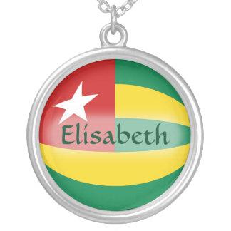 トーゴの旗 + 一流のネックレス シルバープレートネックレス