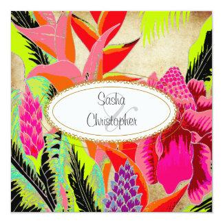 トーチのショウガ+heliconiaまたはルアウ(ハワイ式宴会)の結婚式 カード