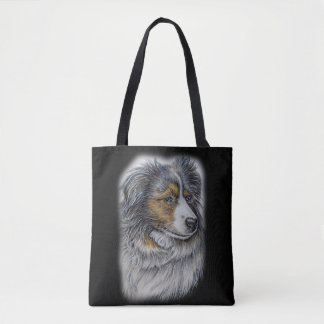 トートバックのコリー犬の動物の芸術のスケッチ トートバッグ