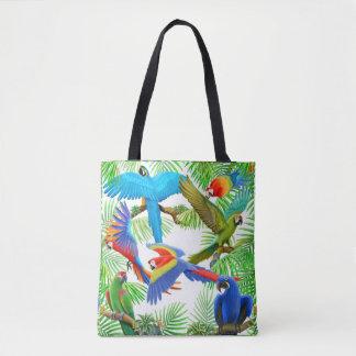 トートバックをくまなくコンゴウインコのオウムのジャングル トートバッグ