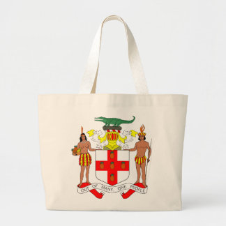 トートバックジャマイカの紋章付き外衣 ラージトートバッグ