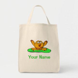 トートバック、かわいく黄色いカエルは、あなたの名前を使用します! トートバッグ