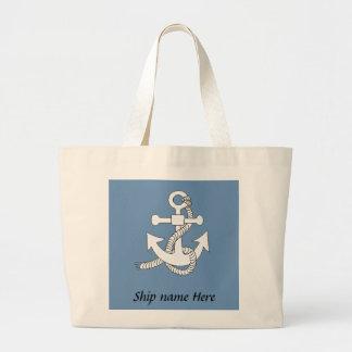 トートバック-船の名前のいかり ラージトートバッグ