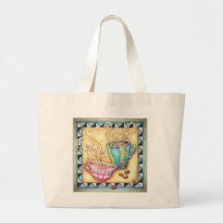 トート及び買い物袋-クールな豆! コーヒー芸術 ラージトートバッグ